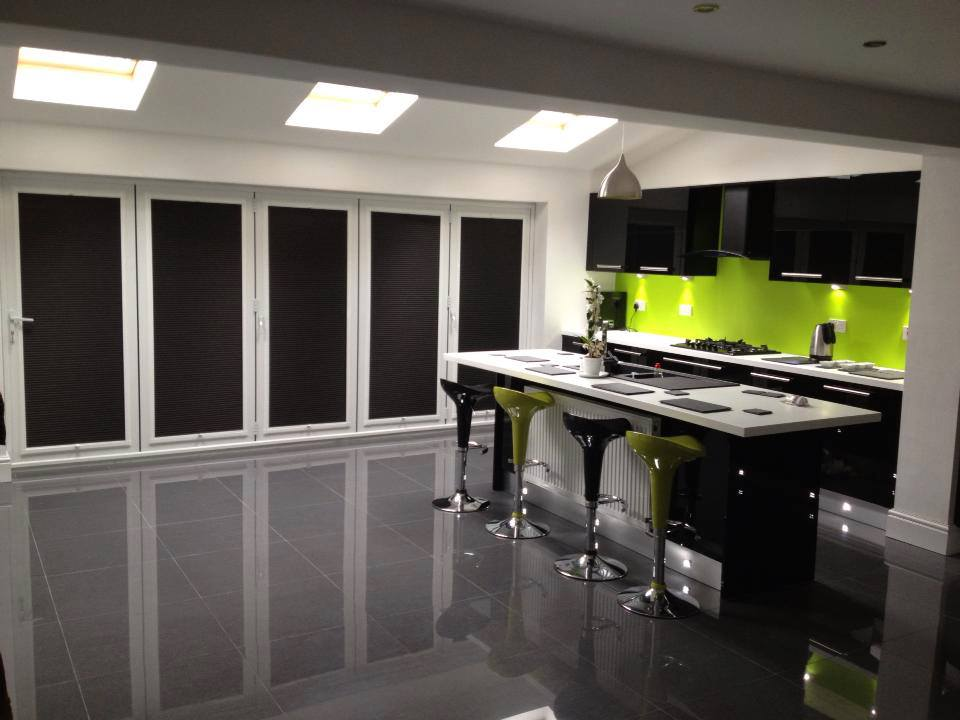 Black Cellular Perfect Fit Blinds On Bi fold Doors