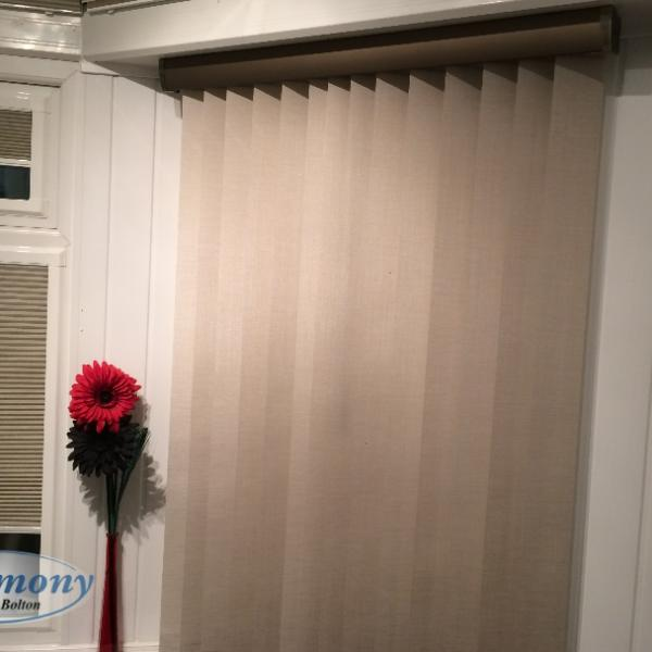 Vertical Blind with Roller Pelmet attached