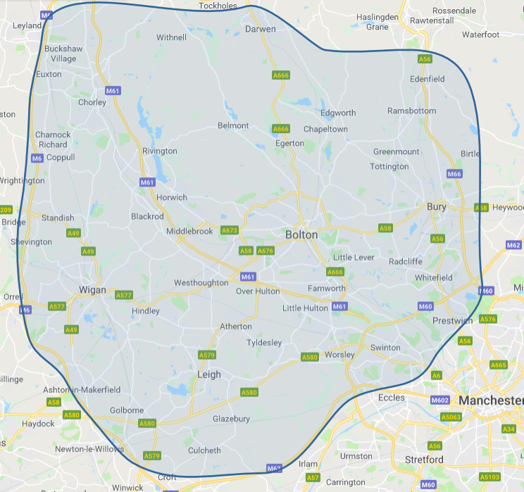 Map of areas we cover with our blinds fitting service