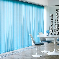 Chain free drapes to your vertical blinds add visual appeal