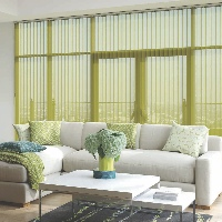 Sheer fabrics with vertical blinds are a great way to filter light whilst keeping privacy