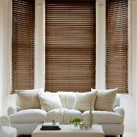 Fired Walnut Wooden Blinds create a warm atmosphere in your room