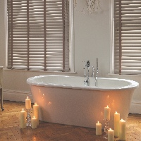 50mm Timberlux Wooden Blinds in a bathroom