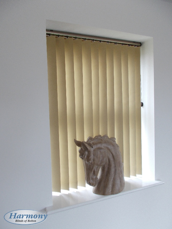 Beige Vertical Blind With Champagne Gold Headrail