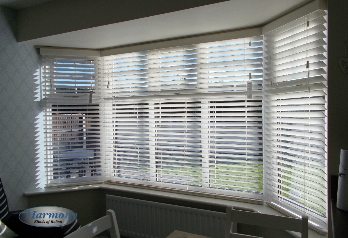 large bay window wooden blinds harmony blinds of bolton