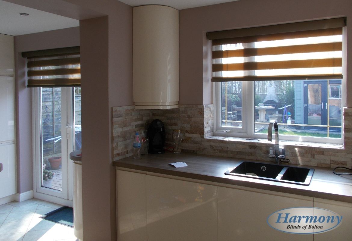 Brown Day & Night Blinds in a Kitchen - Harmony Blinds