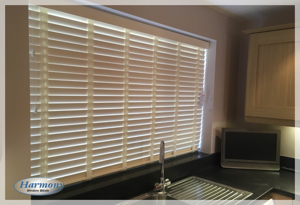 Harmony Blinds Ltd Cream Wooden Blinds With Matching Tapes