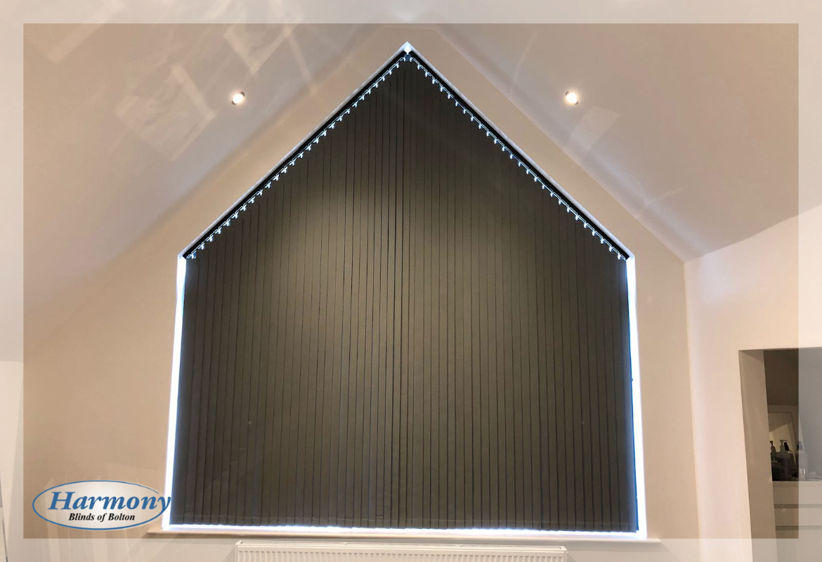 Large Sloping Vertical Blinds for Triangle Shaped Window