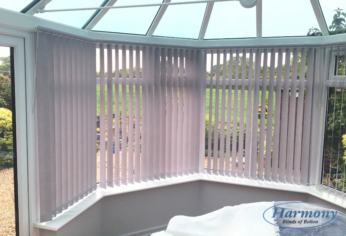 Lilac Vertical Blinds with Top pelmet in a Conservatory