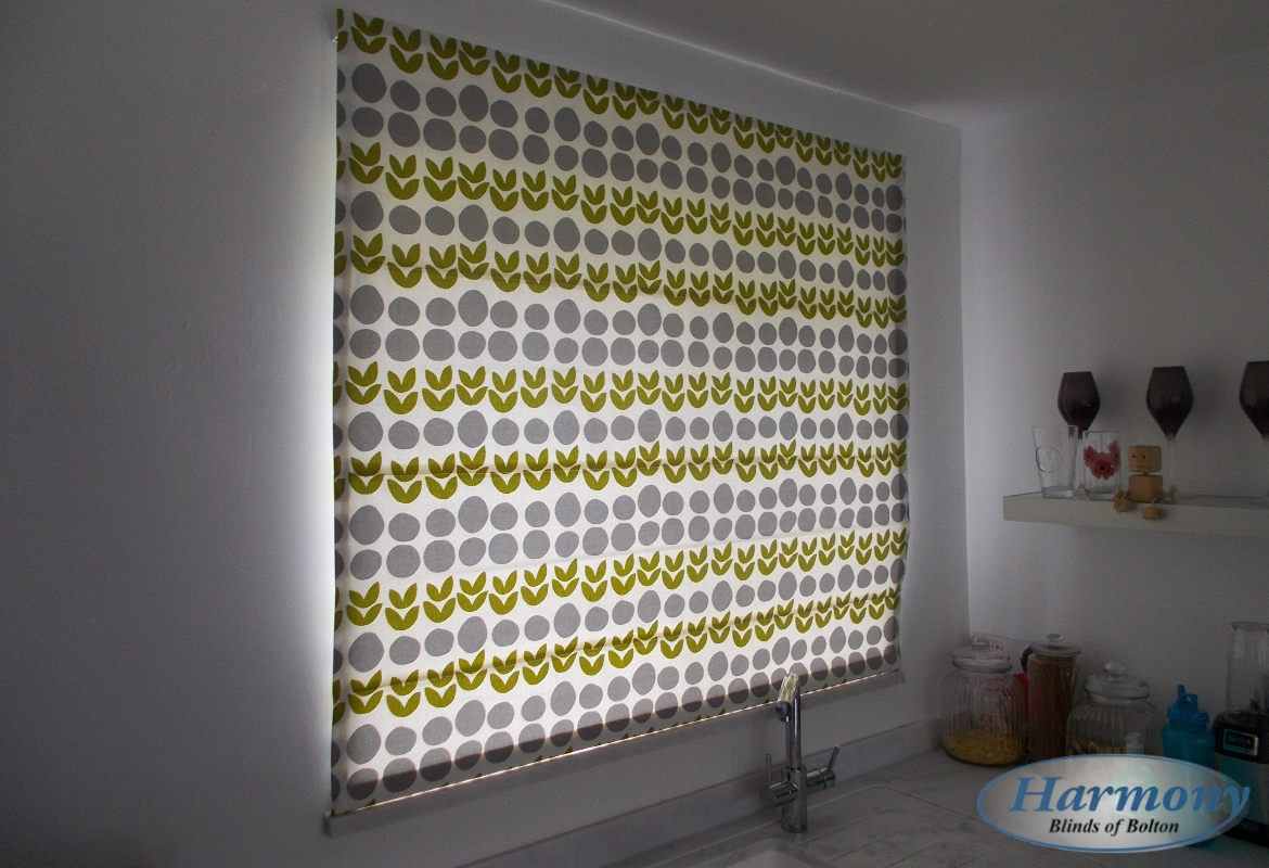 Patterned Roman Blind in a Kitchen - Harmony Blinds