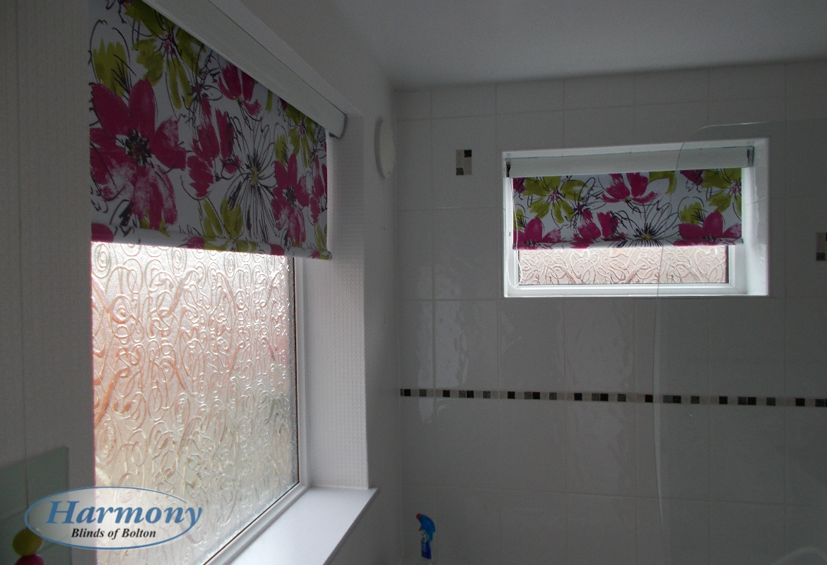 Floral Waterproof Roller Blinds in a Bathroom