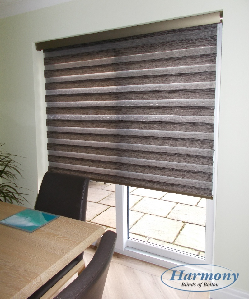motorised day night blind over patio door - Blinds For Patio Doors