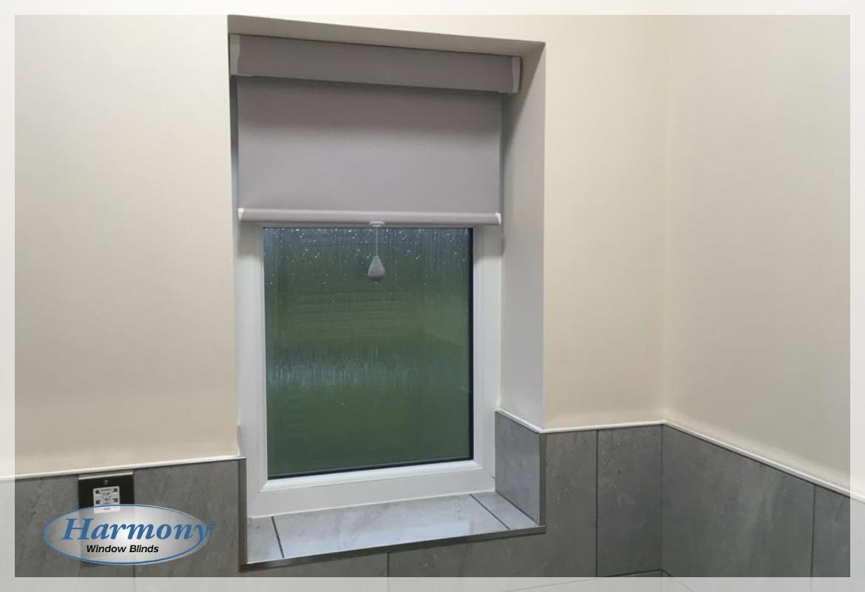 Bathroom Blinds. Pastel Grey Senses Roller Blinds in a Bathroom Bolton  Harmony