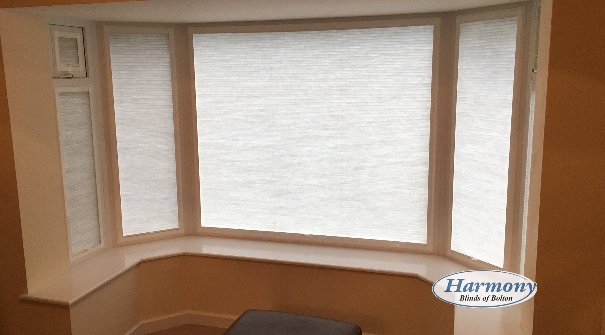 Soft White Perfect Fit Blinds In A Bay Window Harmony
