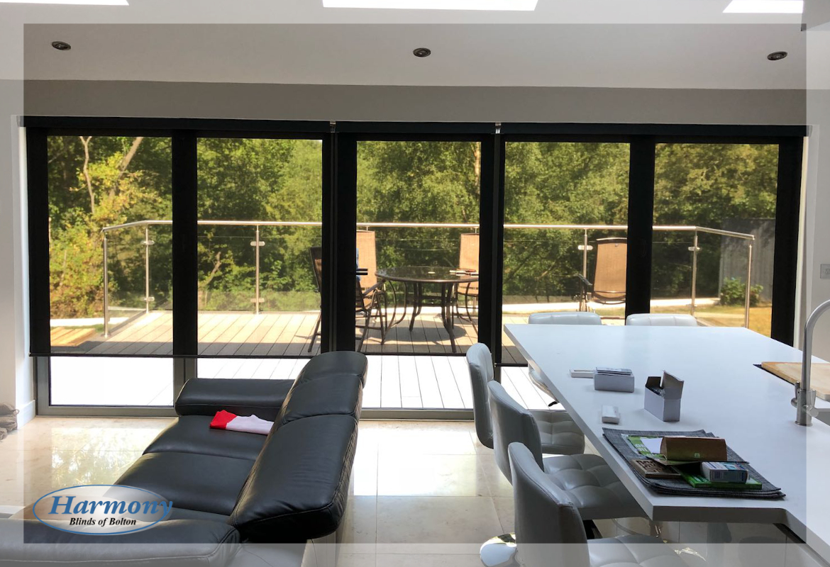 Remote Control Sheer Roller Blinds on Bi-Fold Doors