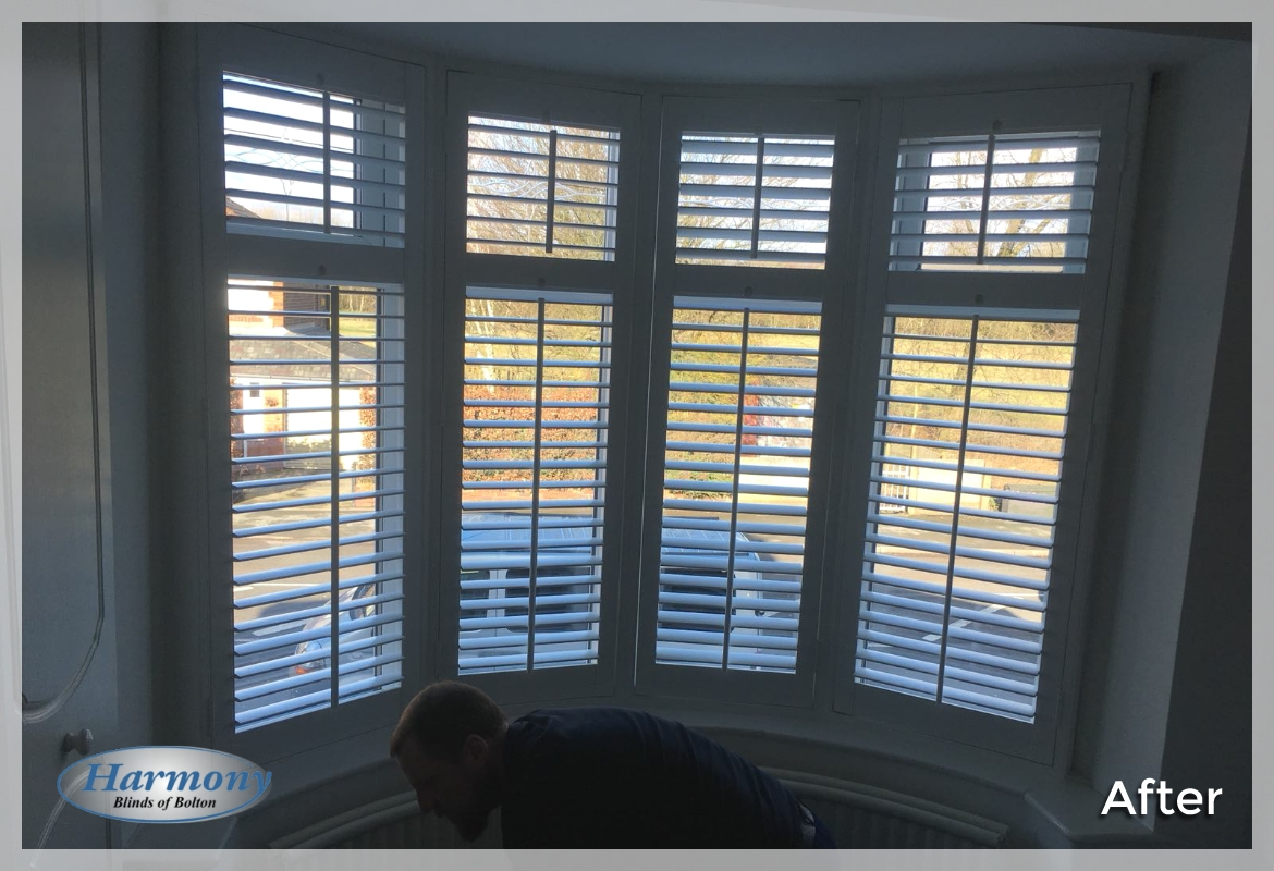 Full Height Shutters in a Tall Bay Window