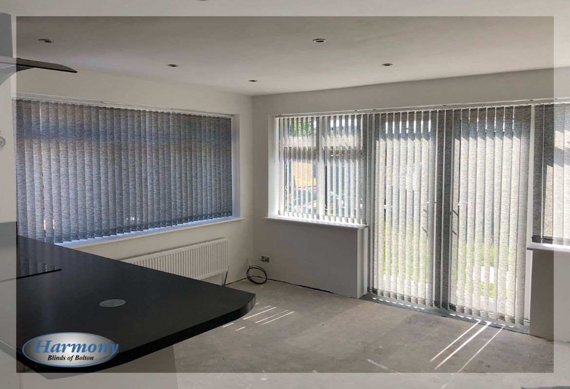 Grey Vertical Blinds in Patio Doors and Kitchen