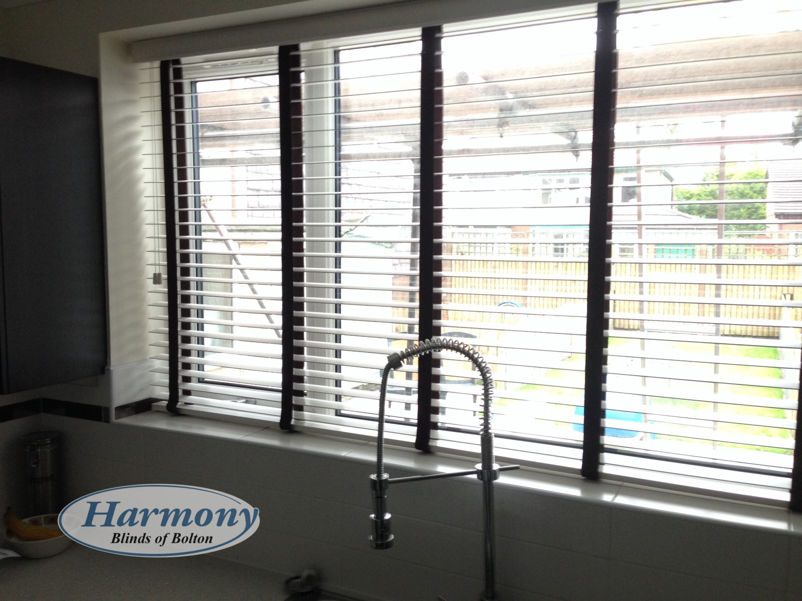 White Wooden Blinds With Contrasting Black Tapes Harmony