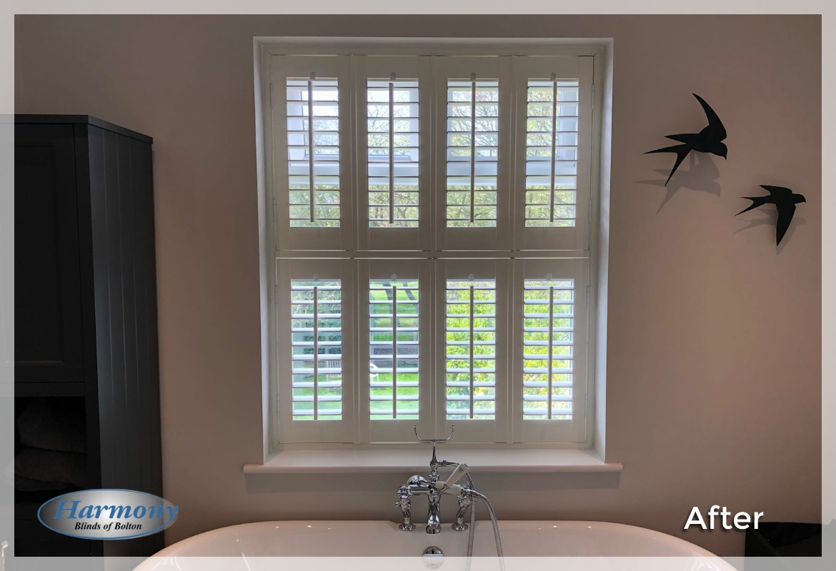 Made to Measure Shutters in a Bathroom