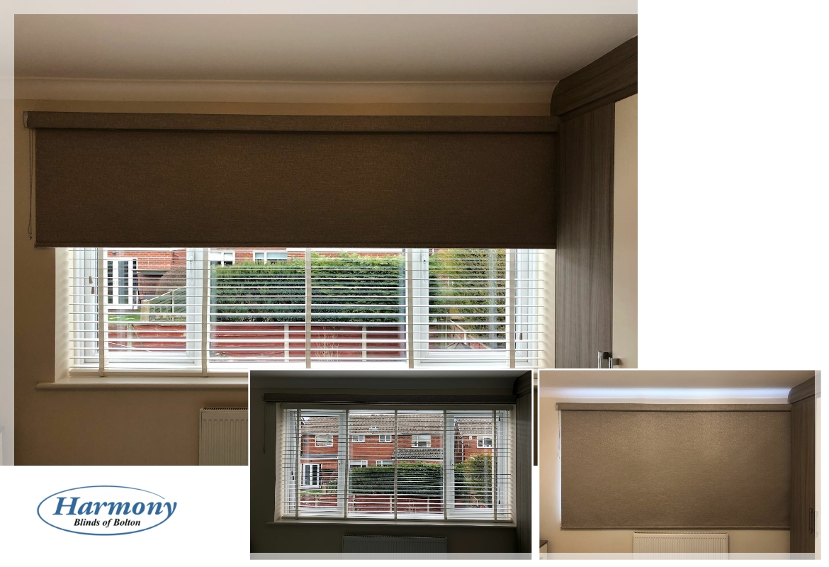 Wooden Blind with Roller Blind for Full Blackout