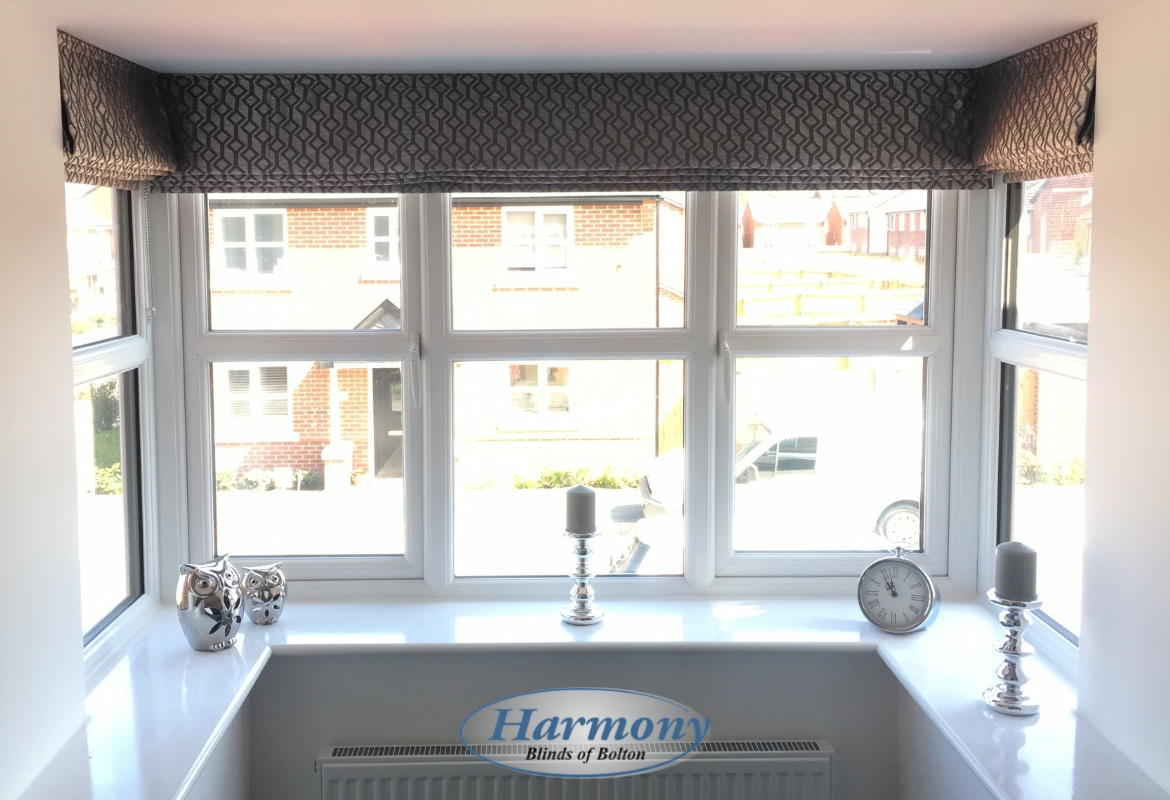 Roman blinds in a square bay window harmony blinds of for Roman shades for bay windows