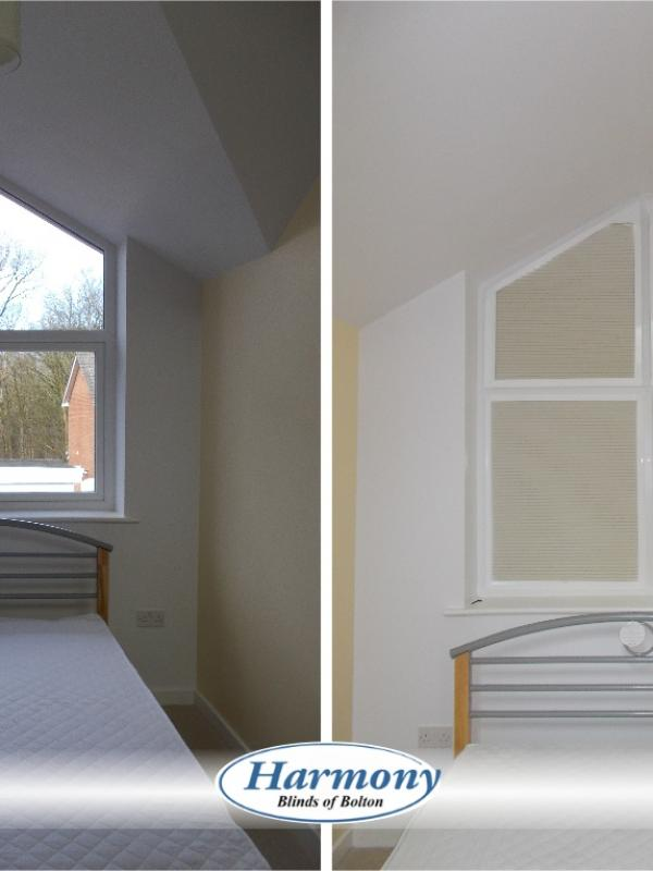 Before & After - Shaped Perfect Fit Pleated Blackout Blinds in a Bedroom