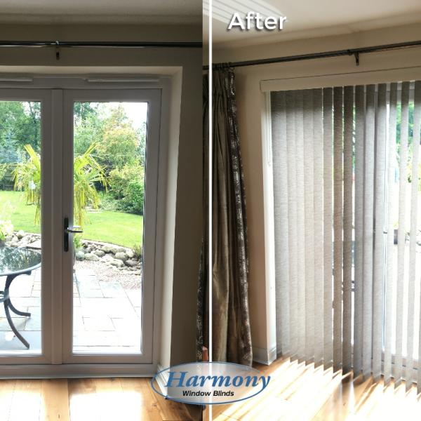 Before & After - Stylish Vertical Blind on Patio Doors