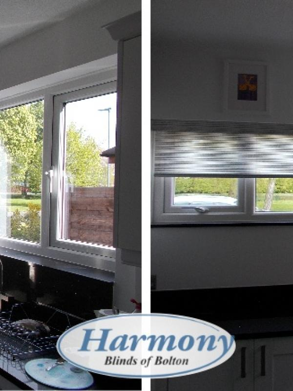 Before & After - Voile Roller Blinds in a Kitchen