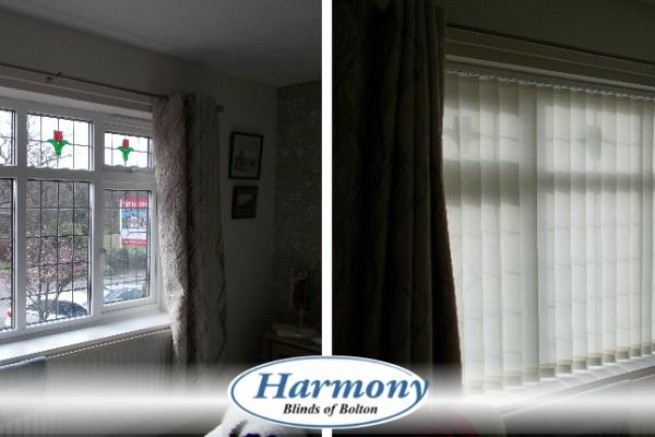Before & After - Wide Vertical Blinds