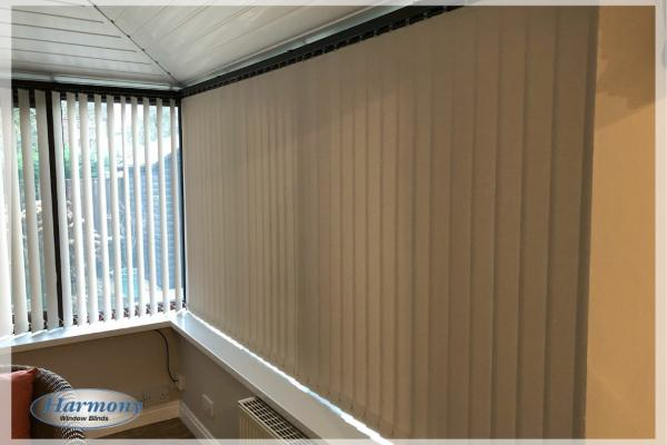 Beige Vertical Blinds in a Conservatory