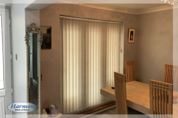 Beige Vertical Blinds on a Patio Door