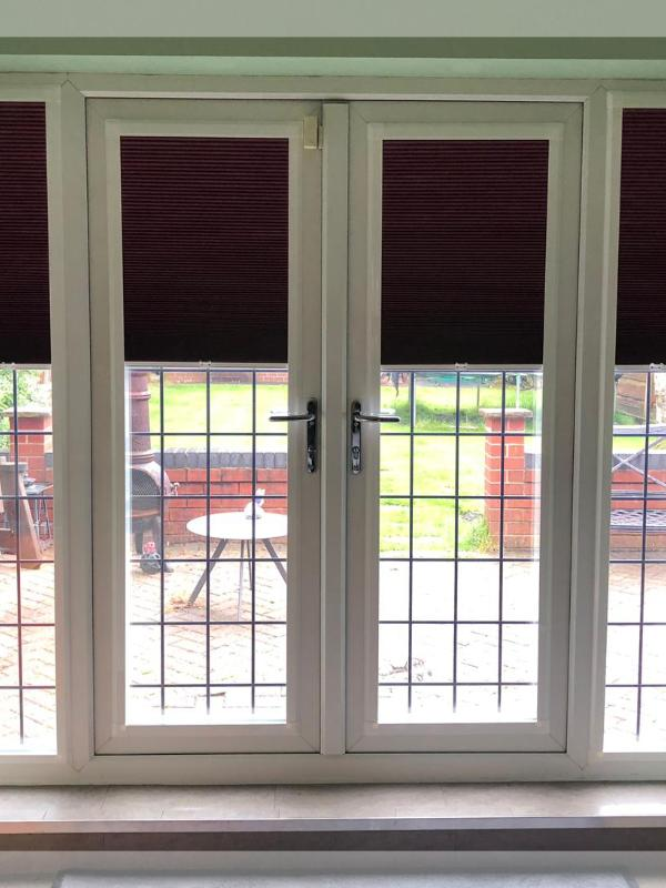 Berry Coloured Perfect Fit Blinds on Doors