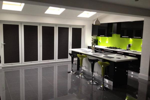 Black Cellular Perfect Fit Blinds on Bi-fold Doors