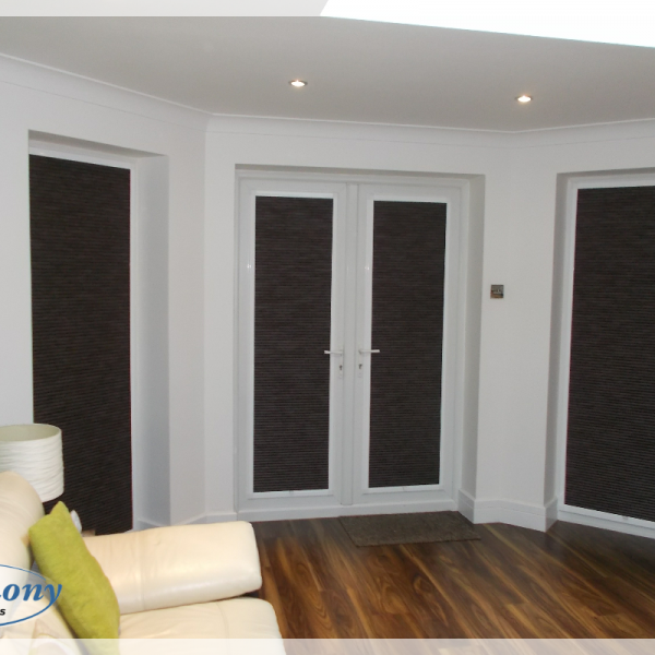 Black Hive Blinds in Perfect Fit frames on Doors and side windows