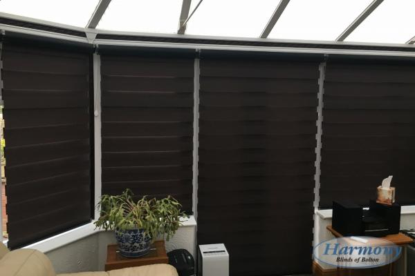 Black Mirage Day and Night Blinds in a Conservatory (Closed Position)