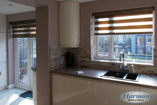 Brown Day & Night Blinds in a Kitchen
