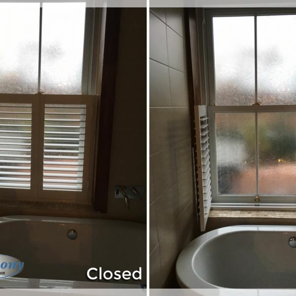 Cafe Style PVC Shutter in a Bathroom
