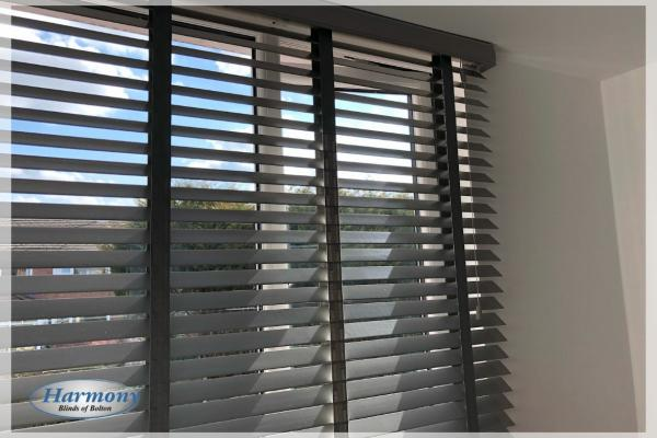 Close Up - Grey Wooden Blinds with matching ladder tapes
