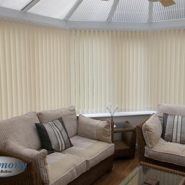 Cream Vertical Blinds in a Conservatory