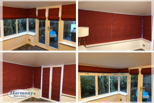 Crushed Red Velvet Roman Blinds in a Conservatory