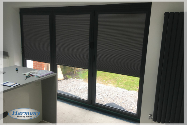 Duette Blinds in Anthracite Grey frames on Bi-fold Doors