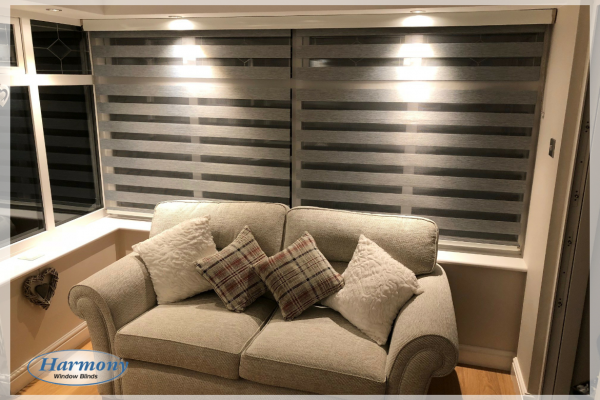 Grey Day & Night Blinds in a Lounge