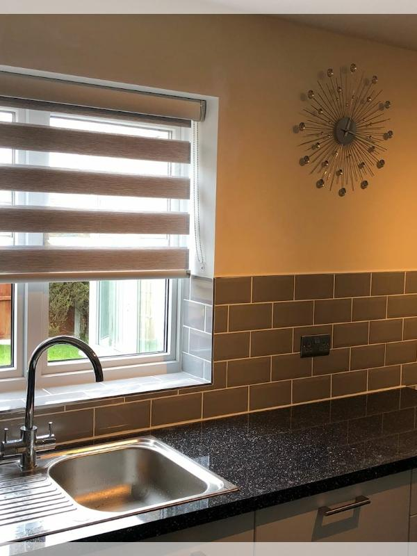 Grey Day & Night Blinds with Silver Metallic Pelmets