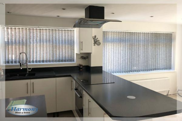 Grey Vertical Blinds in a New Kitchen