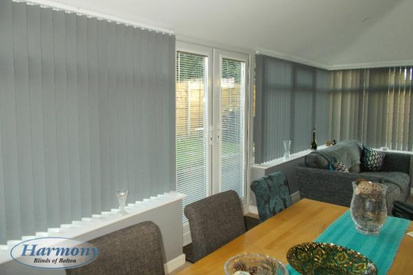 Grey Vertical Conservatory Blinds & Perfect Fit Venetian Blinds for Doors