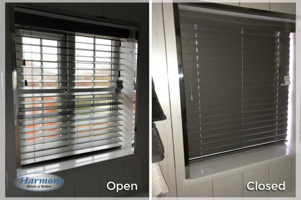 Grey Wooden Blind - Open & Closed