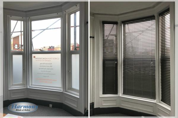 Grey Wooden Blinds in an office Bay Window