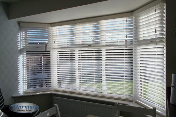 Large Bay Window Wooden Blinds