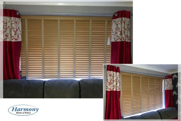 Light Oak Wooden Blind with matching Ladder Tapes