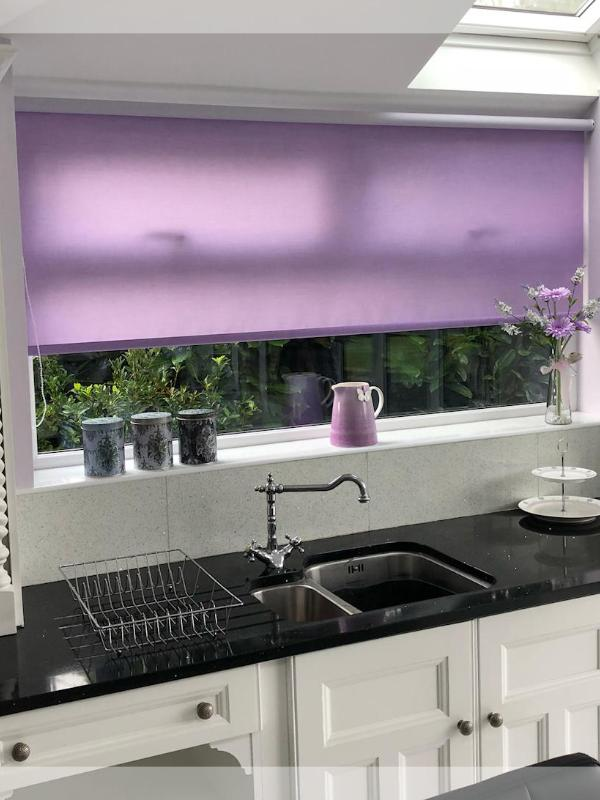 Lilac Roller Blind in a Stunning Kitchen